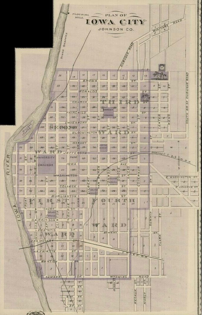 1875 iowa city map