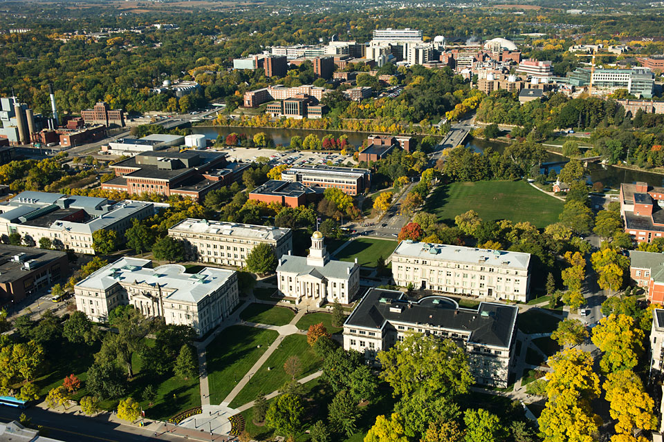 The University of Iowa Campus looking west from Old Capitol and the Pentacrest.